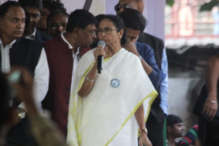 TMC supremo Banerjee, along with her party colleagues, began a protest march from Howrah Maidan which will culminate at Dorina Crossing at Esplanade in the heart of Kolkata. Photo/Twitter (@AITCofficial)