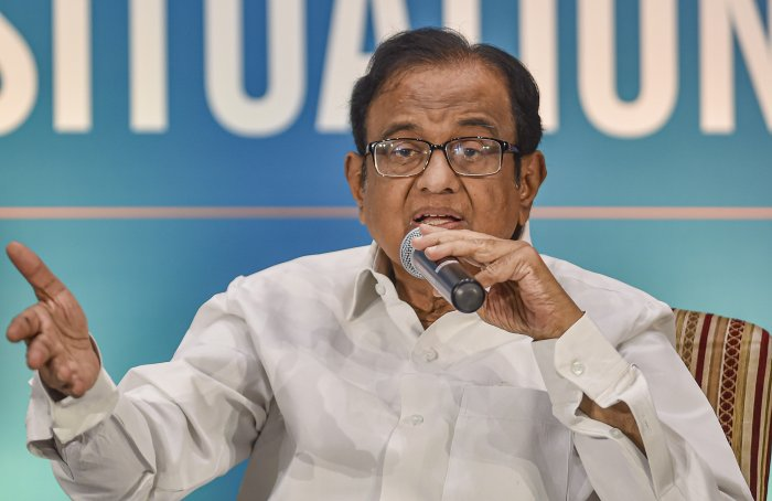 Former finance minister P. Chidambaram speaks on 'Current National Situation' at a programme in Chennai. (PTI Photo)
