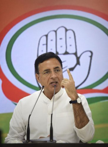 "Taunting the prime minister, Surjewala said such police crackdown was unprecedented in the last 72 years, because ""Modi hai toh mumkin hai"". Photo/PTI"