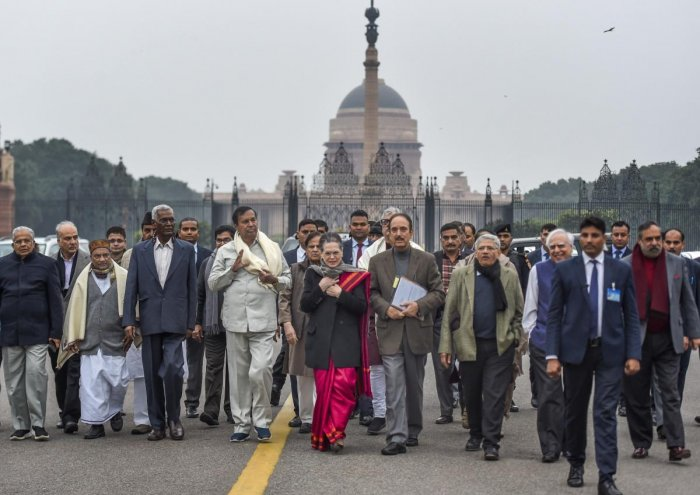 Congress interim president Sonia Gandhi along with party leader Ghulam Nabi Azad, CPI-M leader Sitaram Sitaram Yechury, DMK's TR Baalu and other opposition leaders after meeting President Ram Nath Kovind to register their protest over the police action on students of Jamia Millia Islamia and Aligarh Muslim University and repeal the Citizenship Amendment Act, at the Rashtrapati Bhavan in New Delhi, Tuesday, Dec. 17, 2019. (PTI Photo)