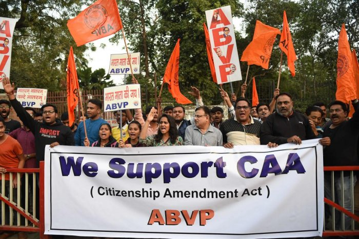 The Jawaharlal Nehru University (JNU) unit of the Akhil Bharatiya Vidyarthi Parishad (ABVP), joined by a section of teachers, on Wednesday took out a march in the university campus in solidarity with the amended citizenship law.