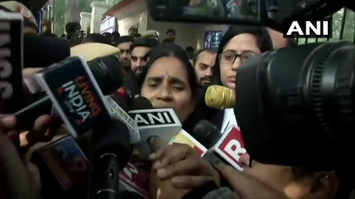 """""""The court is only looking at their (convicts) rights and not ours. There is no guarantee that a judgement will be given on next date,"""" Nirbhaya's mother Asha Devi toldANI.Photo/ANI"""