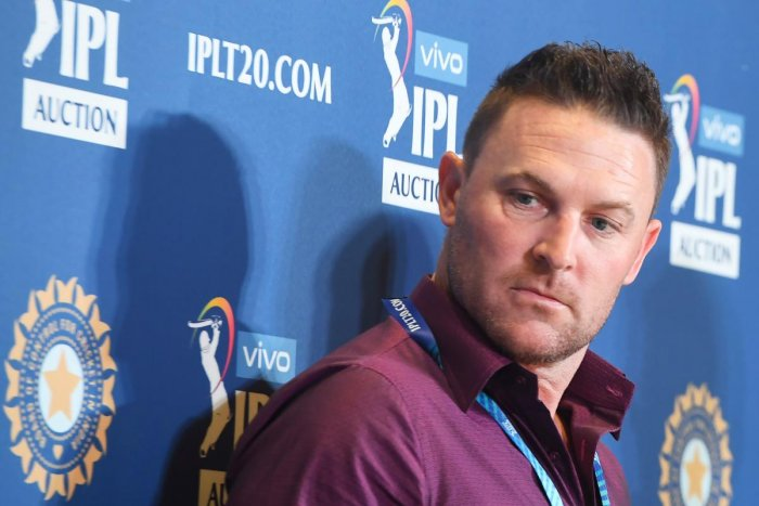 Head coach of the Kolkata Knight Riders (KKR) Brendon McCullum looks on at a press conference for the Indian Premier League 2020 auction in Kolkata