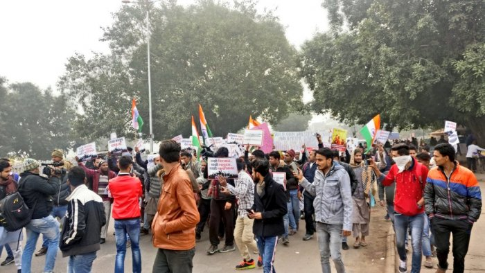 Two protests are scheduled in the national capital with students and activists on one hand and the Left parties on the other. The two marches are to meet at Shaheen Park near ITO. Photo/Twitter (@_SwarajIndia)
