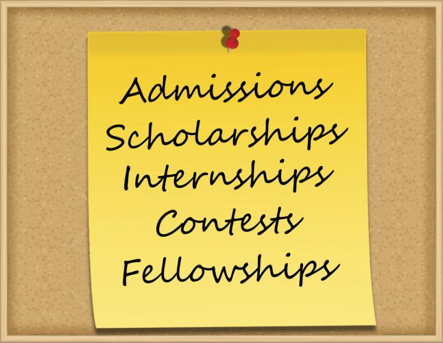 Admissions, Scholarships, Internships, Contests, Fellowships