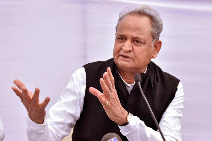 Rajasthan Chief Minister Ashok Gehlot addressing a press conference. PTI photo