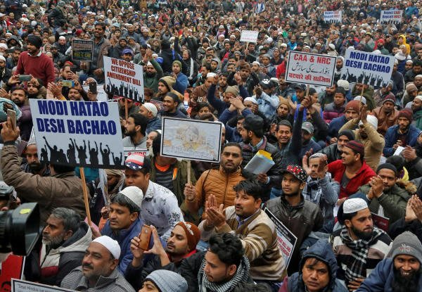 Demonstrators attend a protest against a new citizenship law. (PTI photo)