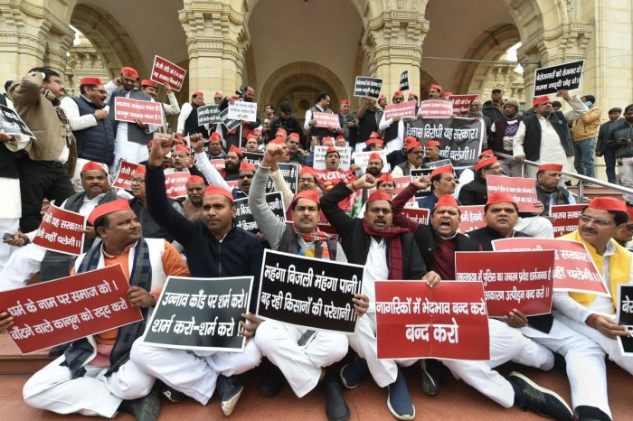 Lucknow: Samajwadi Party leaders protest against Citizenship Amendment Act (CAA) at Vidhan Sabha premises, in Lucknow, Thursday, Dec. 19, 2019. (PTI Photo/ Nand Kumar)