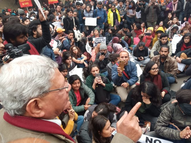 Left leader Sitaram Yechury who was detained near the Red Fort where the two demonstrations were planned to be held, was back at Jantar Mantar after his release. Photo/Twitter (@cpimspeak)