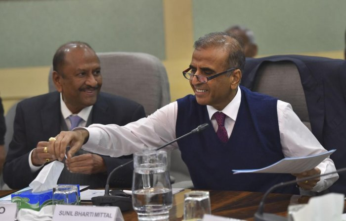 Bharti Enterprises Chairman Sunil Mittal and Founder of the GMR Group G M Rao, during a pre-budget meeting with industrialists, at Finance Ministry. PTI