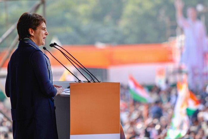 Congress General Secretary Priyanka Gandhi Vadra speaks during the party's 'Bharat Bachao' rally at Ramlila Maidan in New Delhi. (PTI Photo)