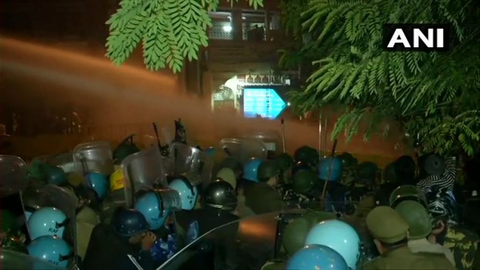 Delhi police used water cannons on the protesters. (ANI photo)
