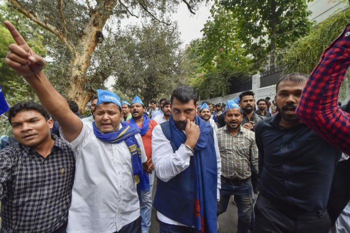 Bhim Army chief Chandrashekhar Azad, in solidarity with Jawaharlal Nehru University students, protests against the hostel and mess fee hike, in New Delhi, Satuday, Nov. 23, 2019. (PTI Photo)