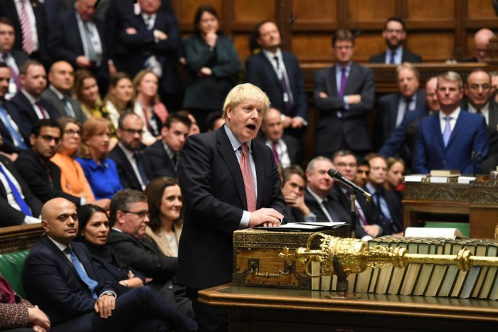 Britain's Prime Minister Boris Johnson speaks during a lawmakers meeting to elect a speaker, in London, Britain December 17, 2019. (Reuters Photo)