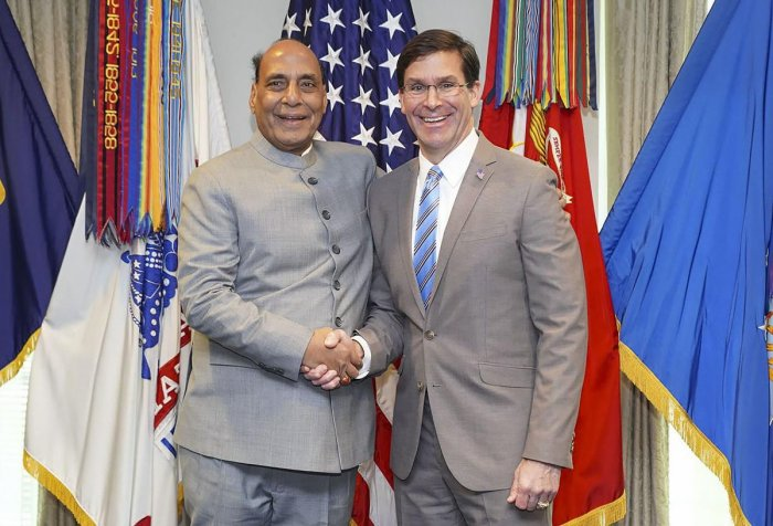 Defence Minister Rajnath Singh shakes hands with US Secretary of Defense Mark Esper before their bilateral meeting in Washington, Wednesday, Dec. 18, 2019. (PTI Photo)