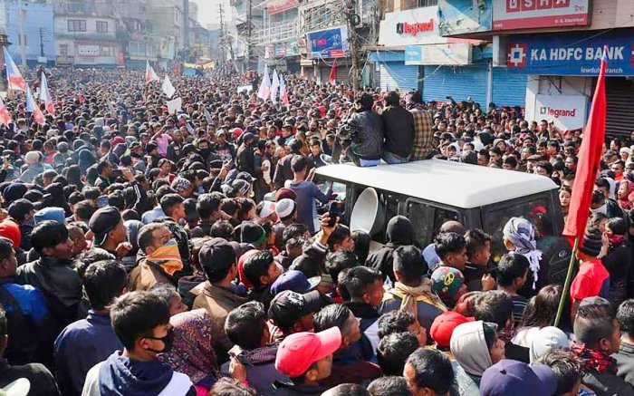 File PTI photo of people protesting against CAA in Meghalaya
