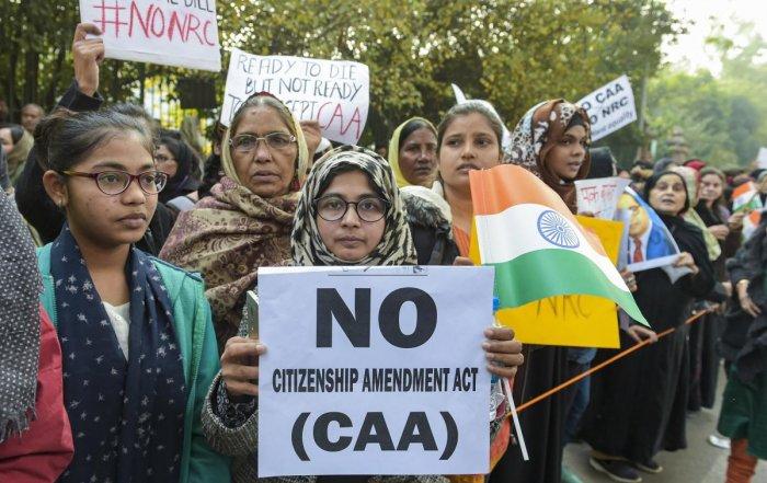 File PTI photo of protest outside Jamia Millia Islamia