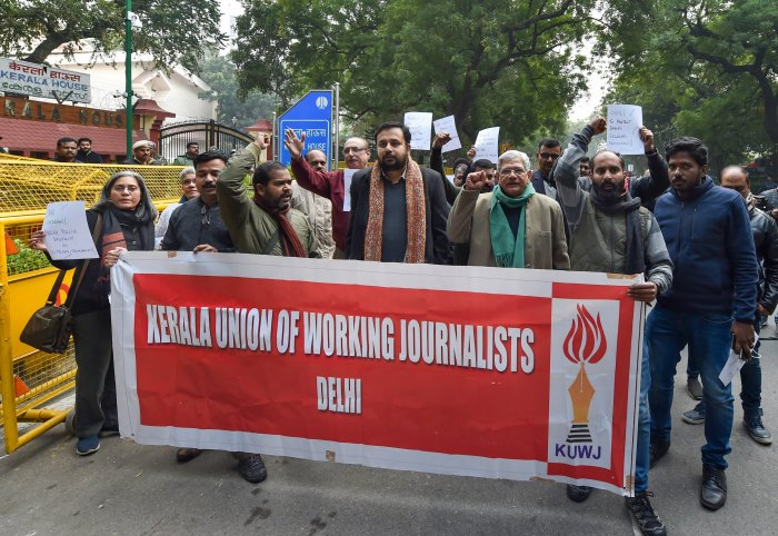 CPI(M) General Secretary Sitaram Yechury with journalists during a protest against the alleged attack by Delhi Police on Kerala journalists during yesterday's protest against CAA at Delhi Gate, in New Delhi. (PTI Photo)
