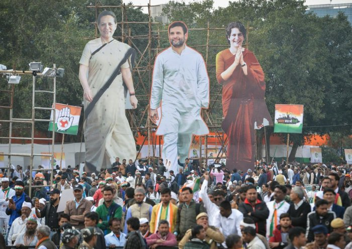 The Congress plan was to organise the protest led byonia Gandhi, Rahul Gandhi and Priyanka Gandhiat Raj Ghat from 2 pmto 8 pmon Sunday but as police denied permission, the party decided to postpone it to Monday. Photo/PTI