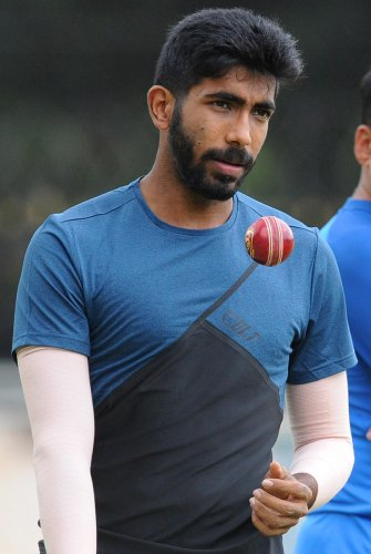 Indian fast bowler Jasprit Bumrah in action during the practice session at Chinnaswamy Stadium in Bengaluru on Friday. | DH Photo: Pushkar V