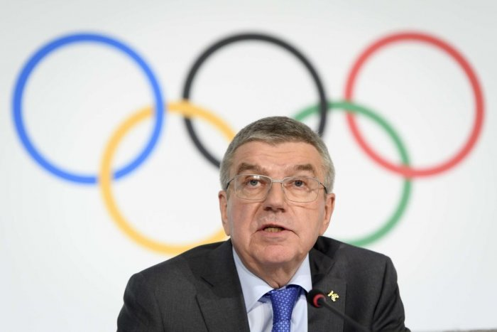 International Olympic Committee (IOC) president Thomas Bach from Germany addressing a press conference.(PTI Photo)