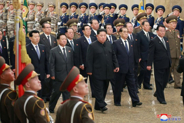 North Korean leader Kim Jong Un with other leaders. (Reuters file photo)