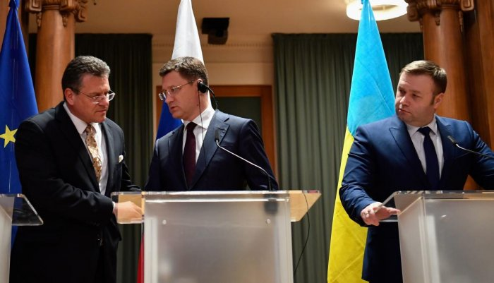 European Commission vice-president Maros Sefcovic, Russia's Minister of Energy Alexander Novak and Ukrainian Minister of Energy and Environmental Protection Oleksiy Orzhel during a press conference. (AFP Photo)