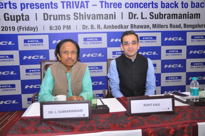 Violinist Maestro Dr.L. Subramaniam and Rohit Kaul, Head, HCL Concerts at the launch of HCL Concerts
