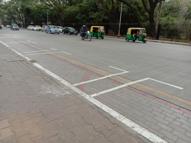 The smart parking machine installed on Kasturba Road. This allows payments to be made on the spot.