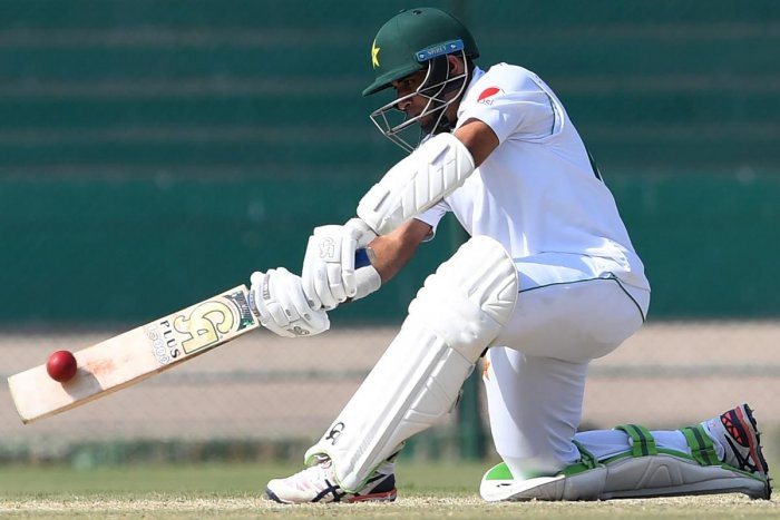 Pakistan's Abid Ali playing a shot during the third day of the second Pakistan-Sri Lanka Test cricket match. (AFP Photo)