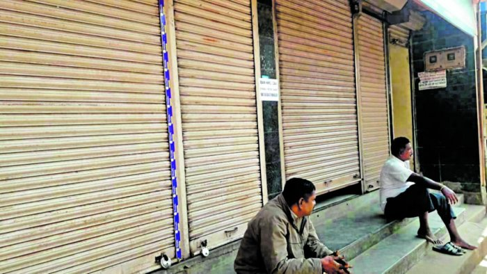 Shops owned by Muslims remained closed in Madikeri on Saturday. dh photo