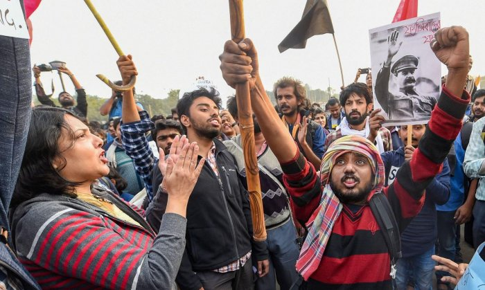 Jadavpur, Presidency and other college university students take part in a protest rally against NRC, CAA in Kolkata , Saturday, Dec. 21, 2019. Photo/PTI