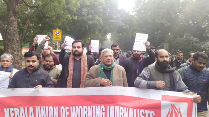 The protesters were joined by CPI(M) General Secretary Sitaram Yechury, who marched with the journalists from Kerala House to Jantar Mantar, the dharna hotspot in the national capital. DH Photo