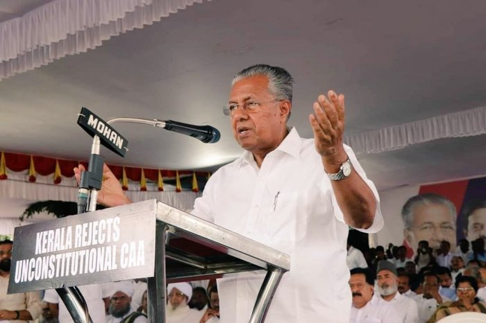 Even as the left-front government in Kerala made a call to boycott the new citizenship law, it faced embarrassment as an earlier order of the Kerala General Administration Department stating that NPR preparation would be initiated in Kerala in April-May 2020 as part of Census remained intact. Photo/Twitter (@vijayanpinarayi)
