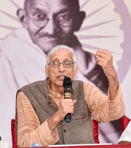 Gandhiji's first satyagraha was against the forceful registration of citizens in South Africa, said Mahatma Gandhi's grandsonRajmohan Gandhi.