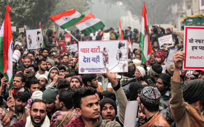 Protestors raise slogans during an anti-Citizenship Act protest. (PTI file photo)