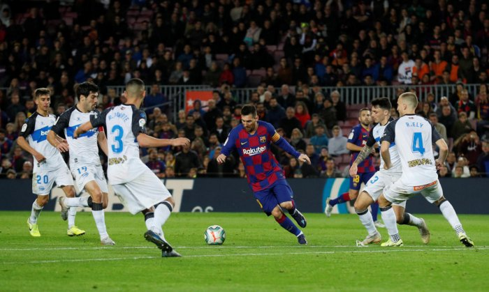Barcelona's Lionel Messi in action. (Reuters photo)