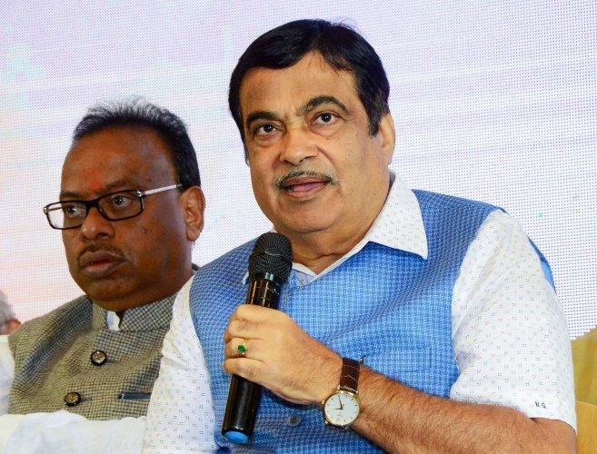 Union Minister for Road Transport and MSME Nitin Gadkari interacts with the media during a press conference of Khasdar Sanskrutik Mahotasav 2019, in Nagpur, Maharashtra. (PTI Photo)