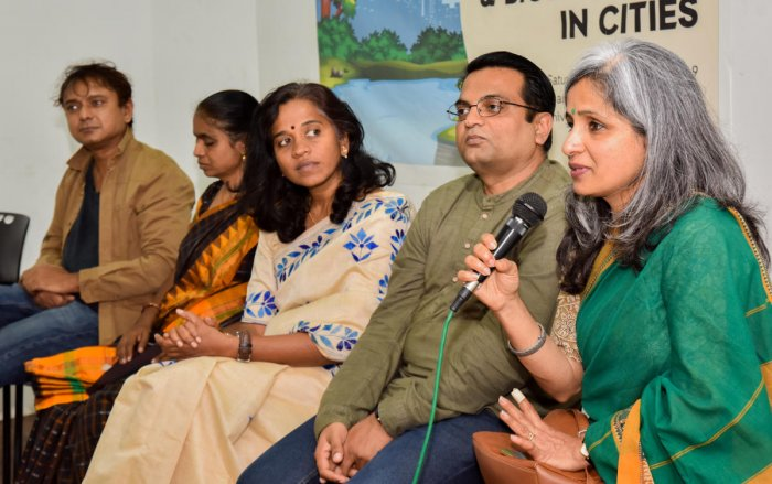 Environmentalists at an event to release a report on lake biodiversity on Saturday. DH PHOTO/M S MANJUNATH