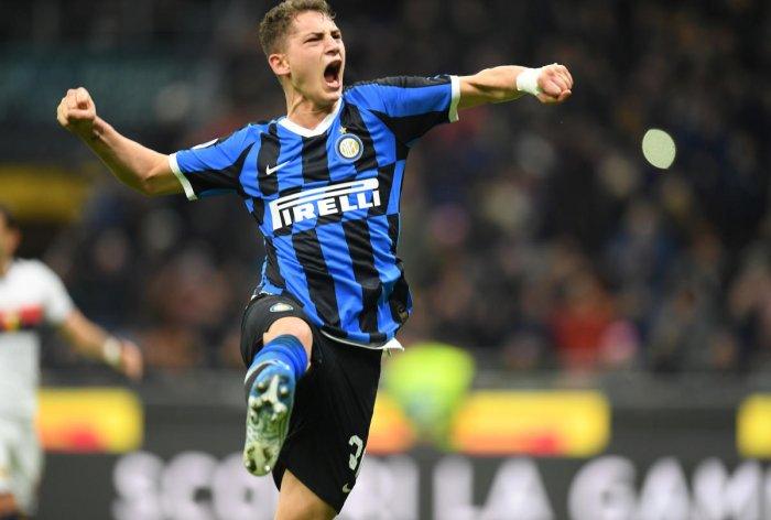 Inter Milan's Sebastiano Esposito celebrates scoring their third goal from the penalty spot. (Reuters Photo)