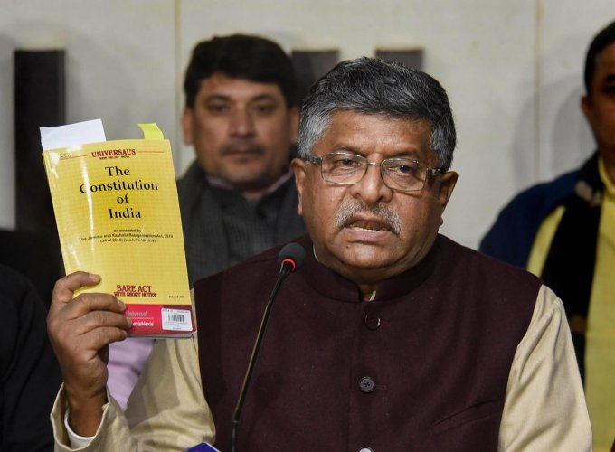 Union Law and IT Minister Ravi Shankar Prasad addresses the media during a press conference on CAA and NRC issue at state BJP office, in Patna. PTI