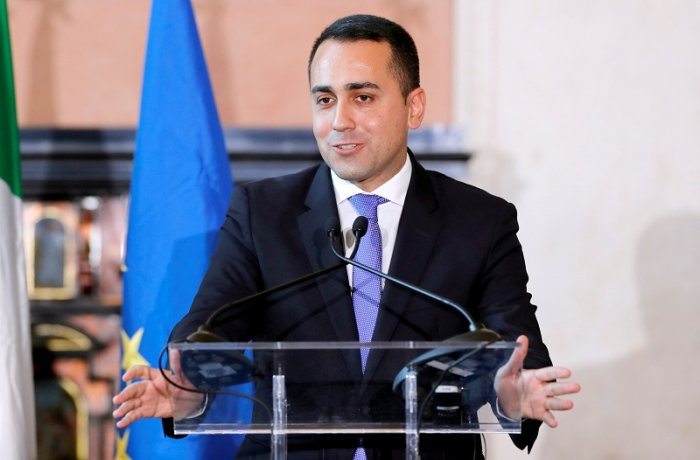 Foreign Minister Luigi Di Maio attends a joint news conference with Russian Foreign Minister Sergei Lavrov. (Reuters Photo)