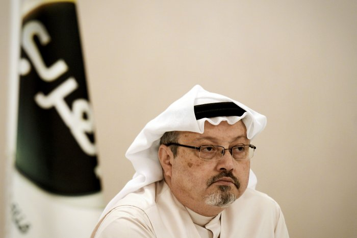 In this file photo taken on December 15, 2014 A general manager of Alarab TV, Jamal Khashoggi, looks on during a press conference in the Bahraini capital Manama. (AFP Photo)