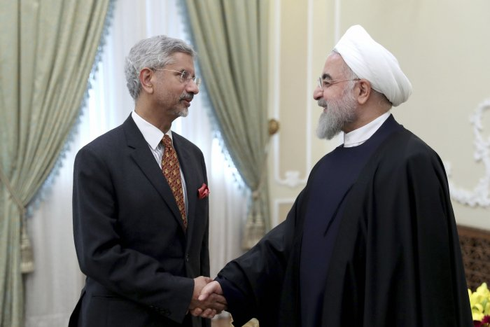 Iranian President Hassan Rouhani, right, welcomes Indian Foreign Minister Subrahmanyam Jaishankar for their meeting in Tehran, Iran. (PTI Photo)