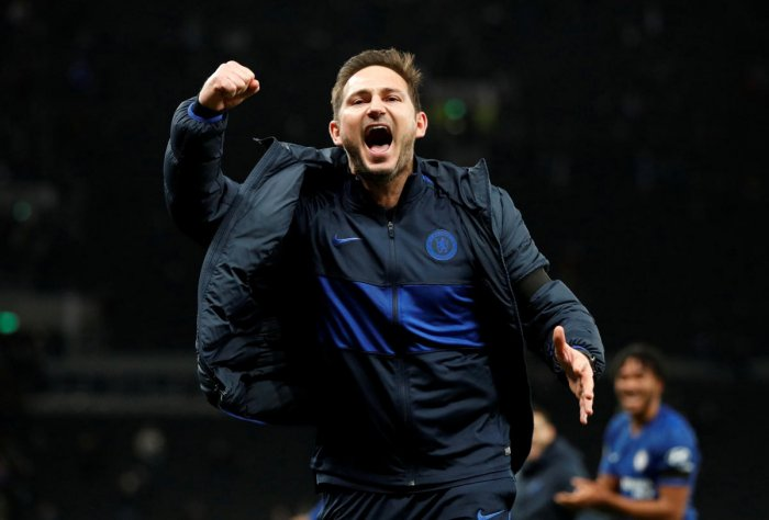 Chelsea manager Frank Lampard celebrates after the match. (Reuters photo)