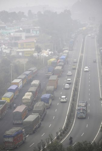The traffic on the highway is restricted to one-way during the winter months and plies alternatively from Srinagar and Jammu to avoid traffic jam due to ongoing four-laning work.