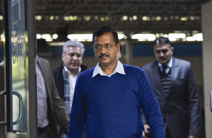 Delhi Chief Minister Arvind Kejriwal ahead of a press conference, in New Delhi. (PTI Photo)