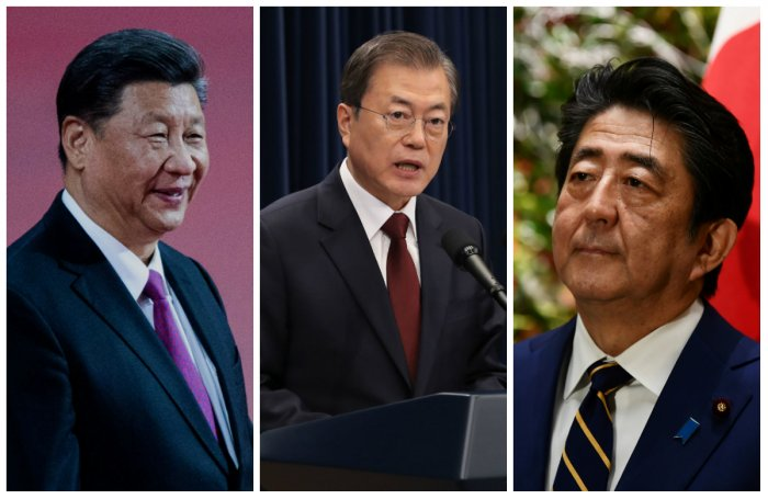 Chinese President Xi Jinping, South Korean President Moon Jae-in and Japanese Prime Minister Shinzo Abe