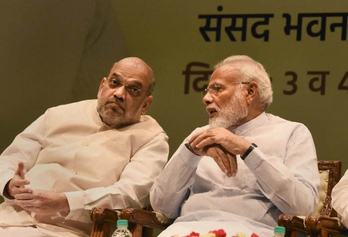 Prime Minister Narendra Modi and Home Minister Amit Shah during the two-day training programme called 'Abhyas Varga', organised for all BJP MPs from Lok Sabha & Rajya Sabha, in New Delhi, Saturday, Aug 3, 2019. (PTI Photo)