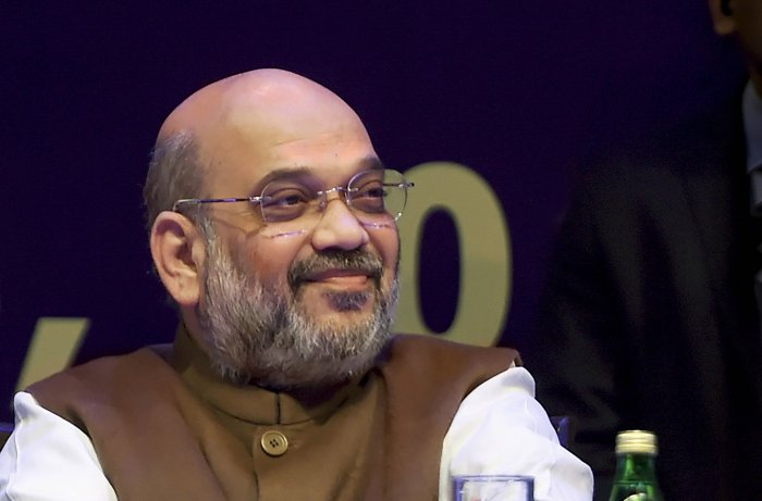 Home Minister Amit Shah during the 32nd Intelligence Bureau (IB) Centenary Endowment Lecture at Siri Fort auditorium. (PTI Photo)